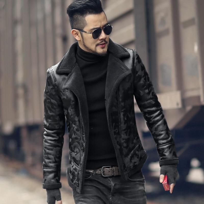 Noir hommes hiver chaud camouflage de fourrure d'agneau de laine occasionnel veste hommes col de fourrure en peluche faux veste en cuir manteau style Européen 2018