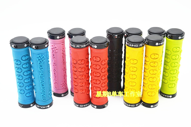 Skull Design TPR Rubber grip Double Lock-on MTB Fixed Gear Bicycle Black Grips грипсы ethic rubber grips blue