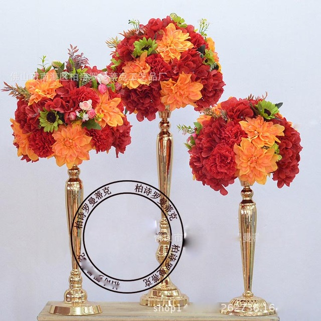 60 Cm Tall Whole Beautiful Metal Flower Vase Gold Paited Stand Wedding Centerpiece For