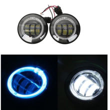 "4-1/2"" LED Auxiliary Spot Fog Passing Light Angel Eyes DRL For Harley FLHTCU FLHTK 1998-2015 Chrome Black Motorcycle(China)"