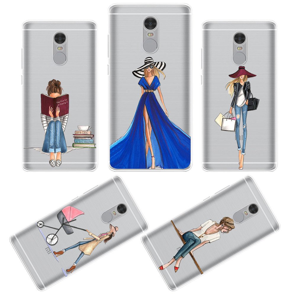 Phone Cases For Xiaomi Redmi Note 4 Beautiful Girls Design Soft TPU Silicone High Heel Shoes Dressing Clear Phone Shell Cover