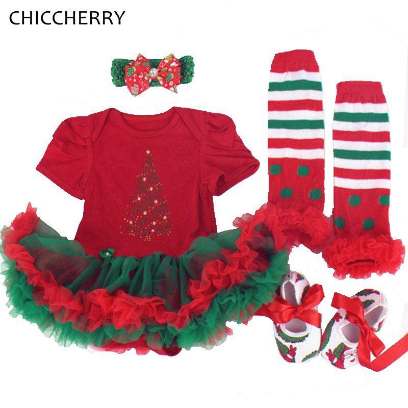 Short Sleeve Newborn Christmas Dresses Tutu Romper Leg Warmers Shoes Headband 4PCS Baby Girl Clothes Children