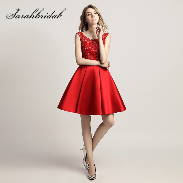 Little Red Knee Length Prom Dresses Short Homecoming Gowns With