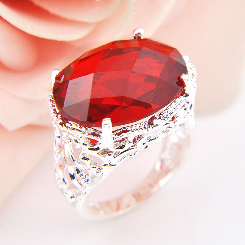 Big Promotion Classic Oval Fire Red Zirconia Quartz Silver Plated