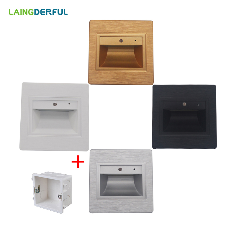 LAINGDERFUL 0.6W Wall Lamp 220V 8 Led Stair Lighting 95mm*95mm Recessed Luminaire 86 Footlights Mounting Box Cool/Warm White