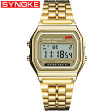 3d2daced469 SYNOKE Digital Relógios Das Mulheres dos homens Retro G LED Digital Relógio  de Ouro Dos Homens Do Esporte de Choque À Prova D  Á..