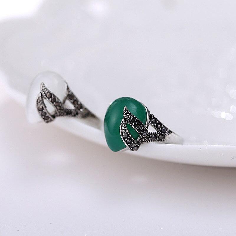 a28ee74300275 Jóia da forma 925 Jóias De Prata Anel de Olho de Gato Para As Mulheres  Compatível com Original Tailandês Retro Nome Charme anel em Anéis de Jóias  ...