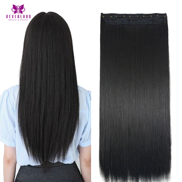 AIMEI Straight Hair 24inch 60cm  1B Black Women Natural One Piece Clip in Hair  Extensions Synthetic Fake Hair Pieces b7dc6a1602