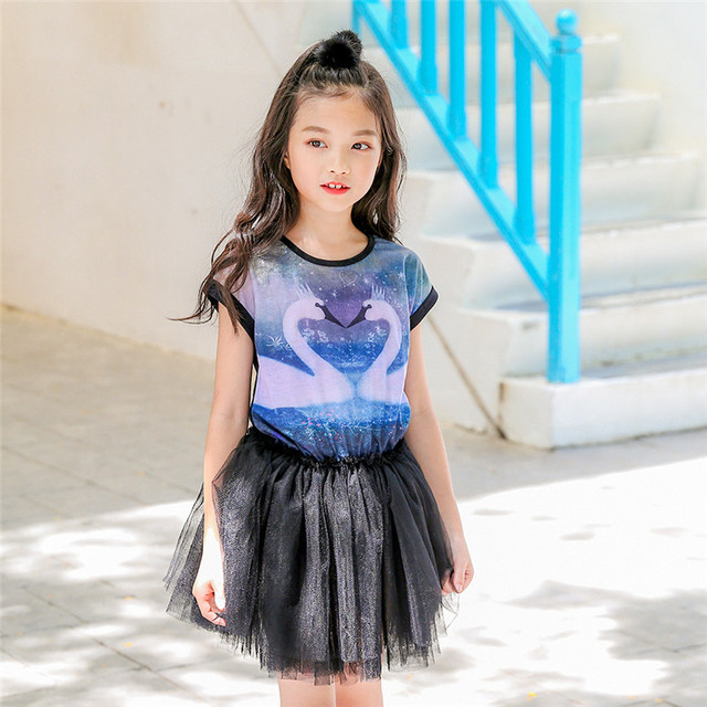 4 12 Years 2018 Fashion Young Girl Dress Girls Ball Grown Dress Kids Summer Party -8303