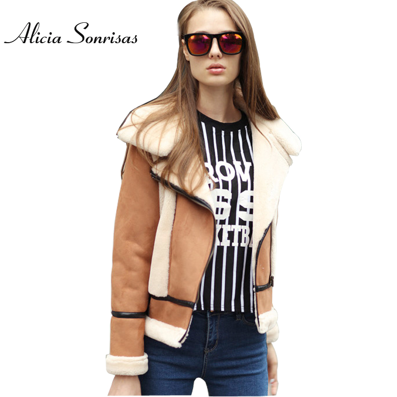 New 2017 Winter Faux Sheepskin Coat Fur Collar Motorcycle Slim Thick   Suede   4 Colors Long Sleeve Biker Coat AS2076