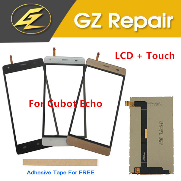 "5.0"" For Cubot Echo Separate LCD Display With Touch Screen Glass Digitizer Replacement Black White Gold Color With Tape(China)"