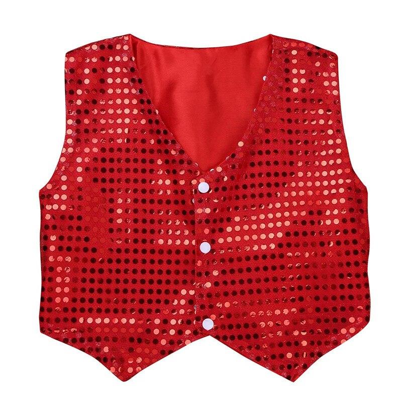 zdhoor Kids Boys Sequins Jazz Hip-Hop Dance Jacket Vest Top Party Shirt Waistcoat Stage Performance Costume