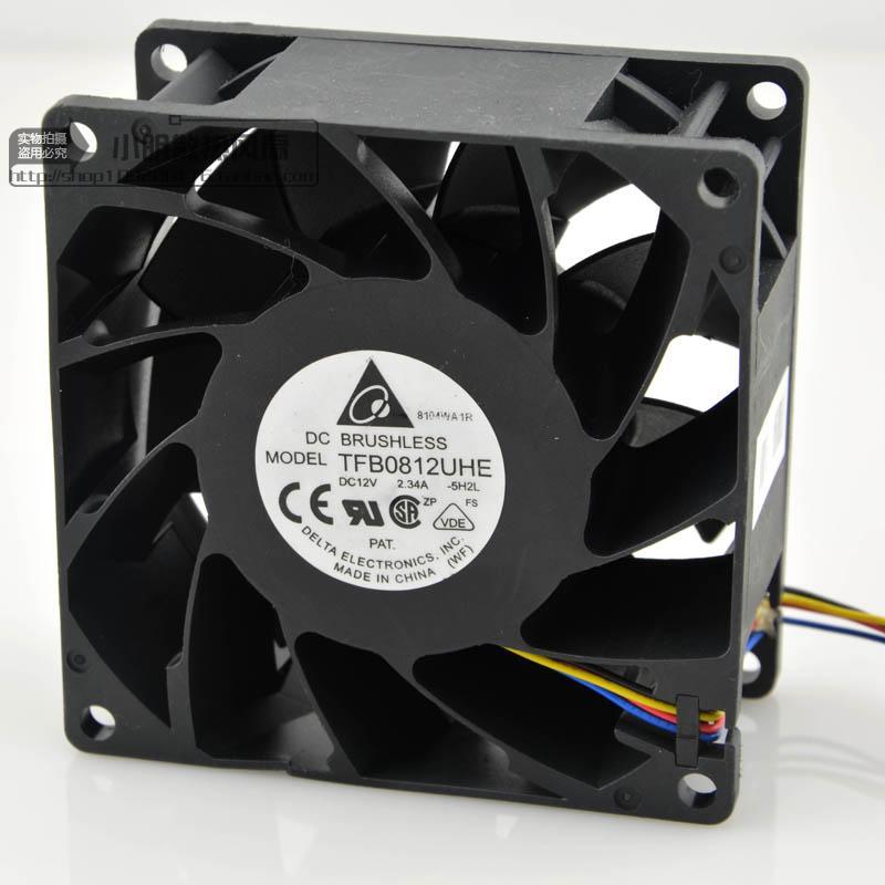 En gros pour Delta TFB0812UHE-5H2L DC12V 2.34A serveur carré onduleur ventilateurs de refroidissement axiaux 80x80x38mm