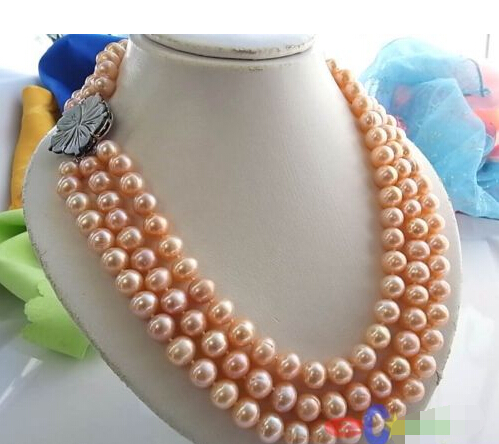 FREE SHIPPING>>>@@ > 3ROW 11MM PINK ROUND FRESHWATER CULTURED PEARL NECKLACE SHELL p848 ^^^@^Noble style Natural Fine jewe & цена и фото
