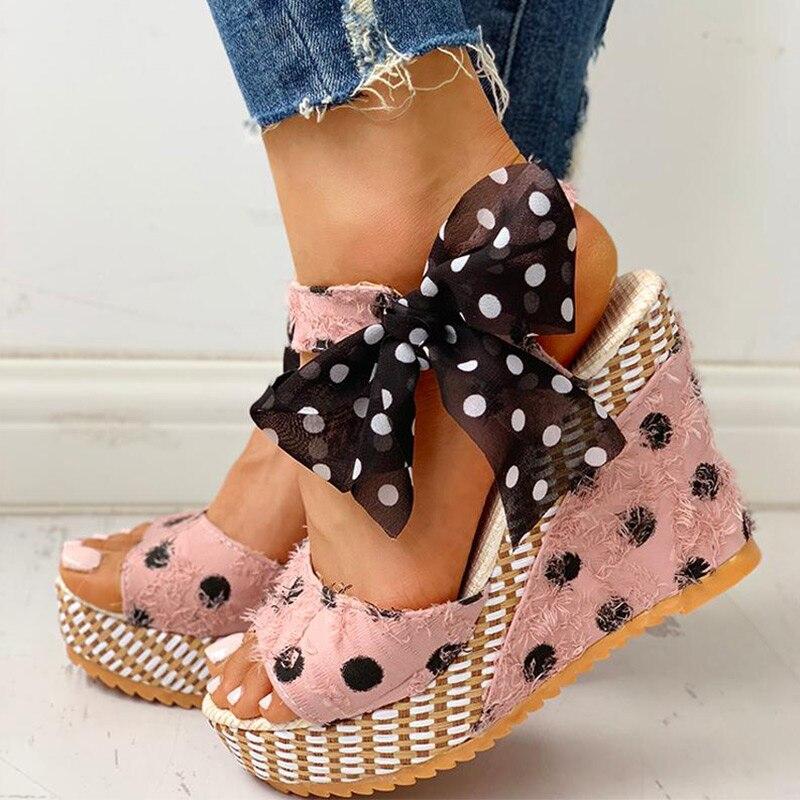 HTB1Q2ghXRWD3KVjSZKPq6yp7FXa6 Women Sandals Dot Bowknot Design Platform Wedge Female Casual High Increas Shoes Ladies Fashion Ankle Strap Open Toe Sandals
