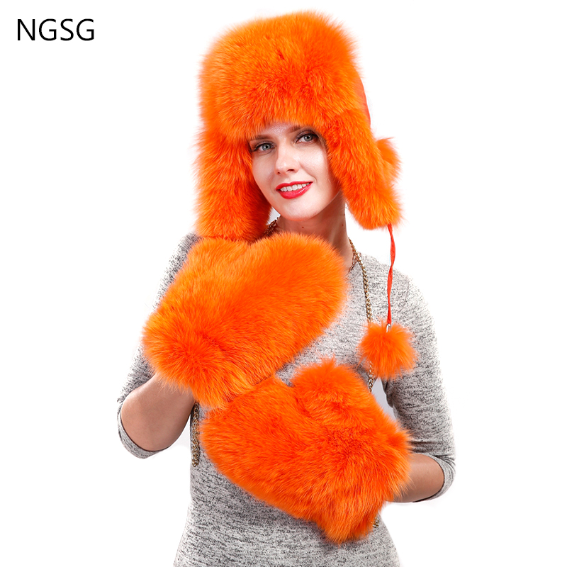 Apparel Accessories Open-Minded Ngsg Women Fox Fur Gloves Solid Red Fox Genuine Leather Lined Removable Chain Winter Russian School Student Girl Gloves Whg001 Women's Accessories