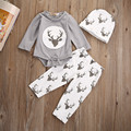 Newborn Baby Girls Boys Christmas Cotton Clothes Deer Romper Top Long Pant Hat Outfits Set
