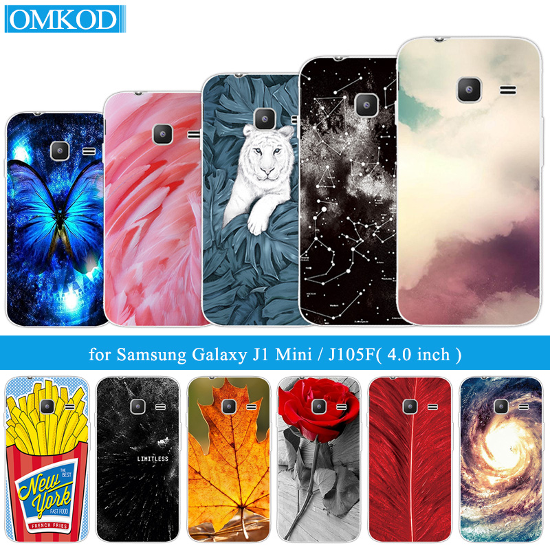 4.0 for Samsung Galaxy J1 Mini 2016 J105F J105H Back Black Matte Cover Shell For Samsung J1mini Phone Cases Plumage Fundas