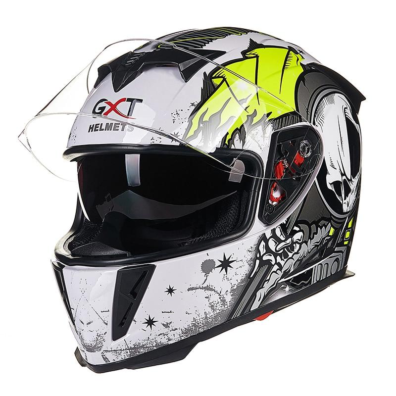 GXT 358-3 casques de moto de couleur verte blanche casques intégraux accessoires de moto