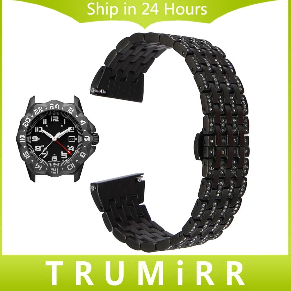 цена  Crystal Diamond Watchband for Luminox Hamilton Rado Quick Release Stainless Steel Watch Band Wrist Strap Bracelet 18mm 20mm 22mm  онлайн в 2017 году