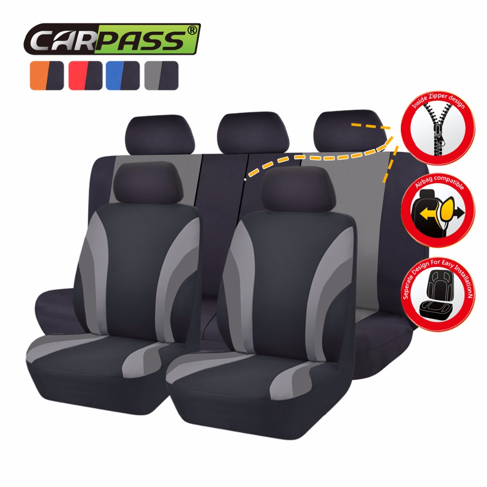 Car-pass 7 Түсті әмбебап автокөлік орындықтары Толық артқы орындықтар Артқы отырғыштың мұқабасы For40 / 60 50/50 Sedans Auto Interior Accessories