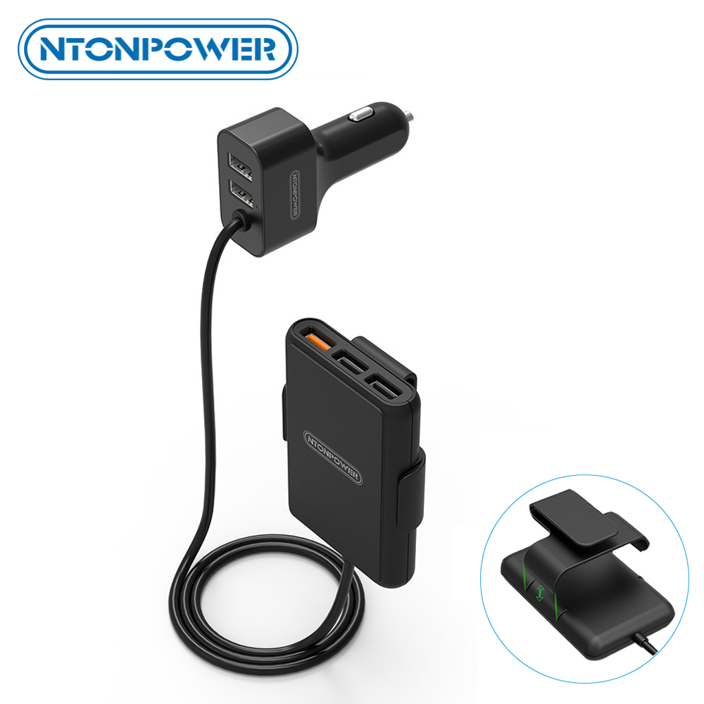 NTONPOWER 5 Ports USB QC 3.0 Car Charger with 1.8m Extension Cable with Detachable Clip For Mobile Phone Tablet GPS Car-Charger