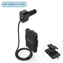 شاحن سيارة NTONPOWER 5 منافذ USB QC 3.0 مع كابل تمديد 1.8 متر مع مشبك قابل للفصل للهاتف المحمول والكمبيوتر اللوحي GPS شاحن سيارة
