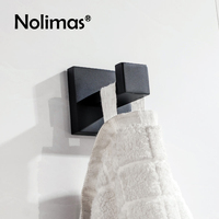 2017 SUS 304 Stainless Steel Robe Hook Black Deluxe Mirror Polished Towel Hook Wall Mount Square