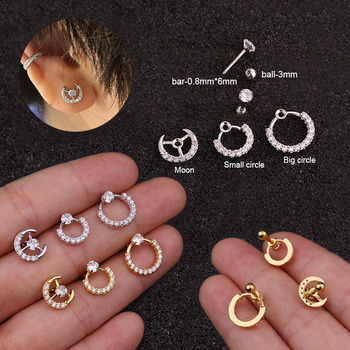 20g Stainless Steel Barbell With Cz Circle Moon Cartilage Helix Earring Conch Rook Conch Lobe Stud.jpg 350x350 - 20g Stainless Steel Barbell With Cz Circle Moon Cartilage Helix Earring Conch Rook Conch Lobe Stud Ear Piercing Jewelry
