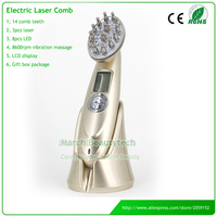 Handheld LED Photon Therapy EMS Microcurrent Vibration Massage RF Hair Growth Laser Comb Hair Care Machine