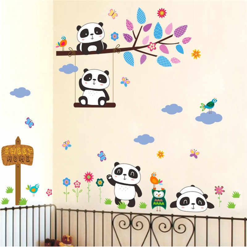% פנדה שובבה יער ציפורים עץ סניף מדבקות קיר בעלי חיים מדבקות קיר קיר חדר ילדים בייבי משתלת חדר דקור אמנות