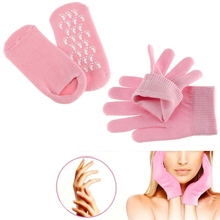 1 Pair SPA Gloves Mask Pink Socks Beauty New Whiten Treatment Gel Foot Skin Hard Dry Moisturising Hand Care Therapy