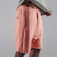 2017 Justin Bieber Shorts Kanye Drop Crotch Drawstring Sweat Shorts Zipper Pocket Mens Hip Hop Harem