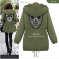 2016 Spring Autumn Women Skull Embroidery Jackets Coats Hooded Jacket Coat WCB0018