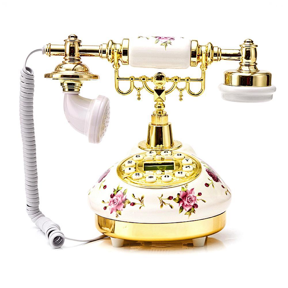 Креативный ретро телефон в американском стиле, стационарный керамический высококлассный телефон в европейском стиле, розовый Настольный т