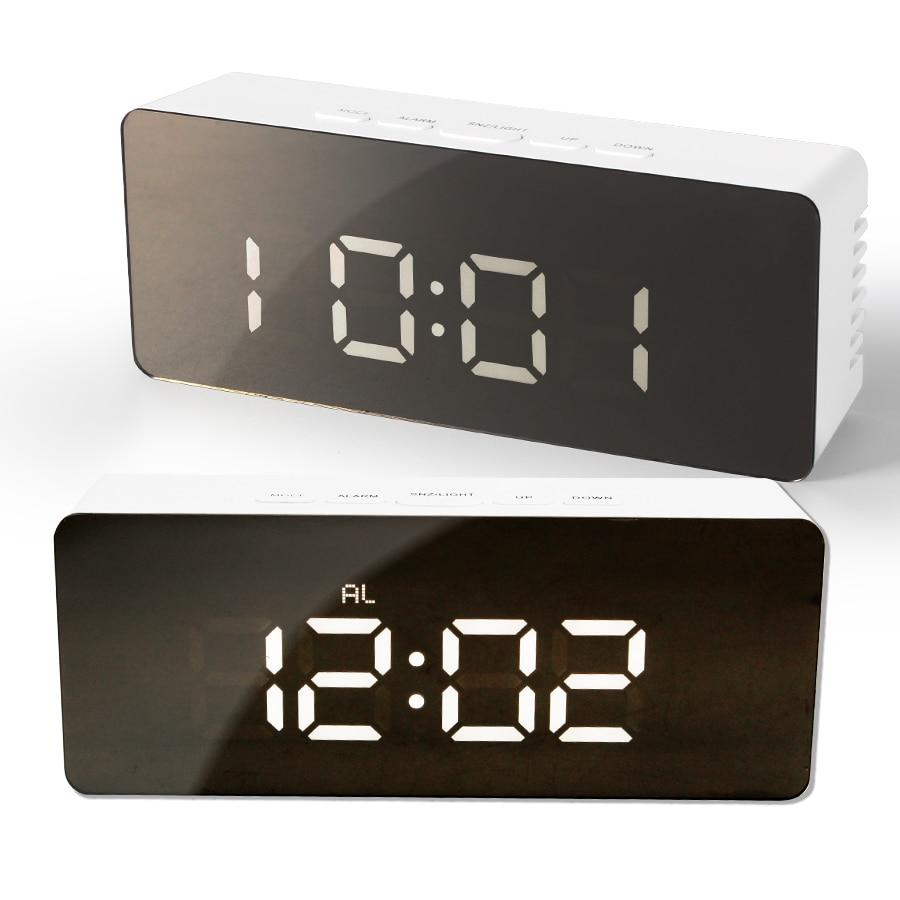 LED Mirror Alarm Clock Night Lights Thermometer Wall Clock Lamp Square Rectangle Multi-function Desk Clocks