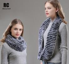 [Rancyword] Women Scarf Winter Long Real Rabbit Fur Scarves Shawl Ladies Neckerchief Genuine Collar Warm Neck Wrap RC1379