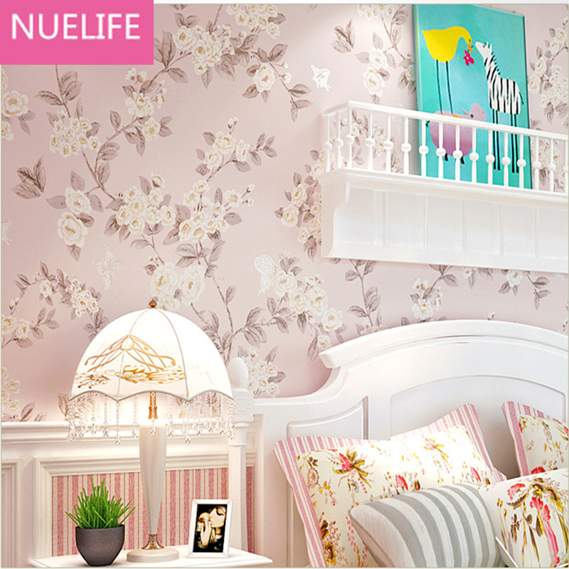 0.53x10m Pink pastoral style romantic flower wedding room wallpaper living room bedroom American style non-woven wallpaper 0 53x10m sea lighthouse hippocampus pattern non woven wallpaper american style cute boy girl kids bedroom living room wallpaper