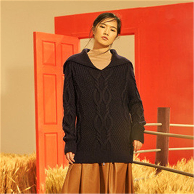 100% Hand Made Pure Wool Crew Neck Knit Women Fashion Solid Twisted Thick H-straight Pullover Sweater One&over Size