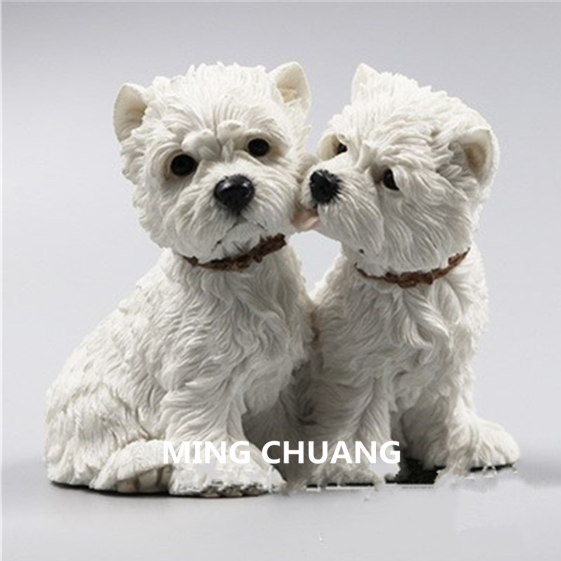 Cute Puppy Statue Simulation west highland white terrier Couples Dog Dog Creative Resin Home Decor Birthday Gift Box  D106Cute Puppy Statue Simulation west highland white terrier Couples Dog Dog Creative Resin Home Decor Birthday Gift Box  D106