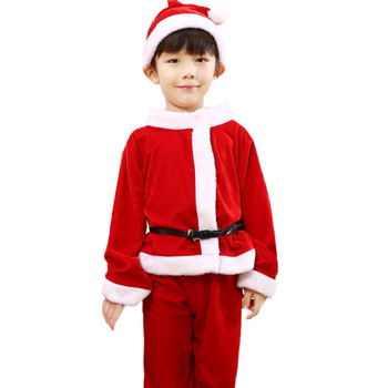 2 To 10 Years Christmas Costume Santa Claus Red Dress With Cloak Cosplay Children Clothing For Boys And Girls 1