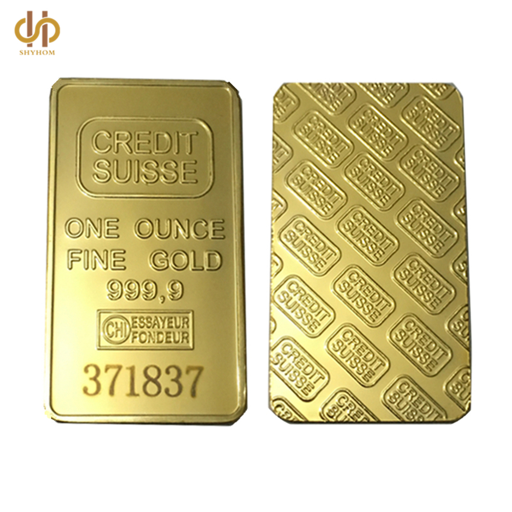 24K 1 OZ Credit Suisse Gold Bullion &Clad Bar One Ounce Fine Gold 999.9 Replica Souvenir Coins With Different Serials Number