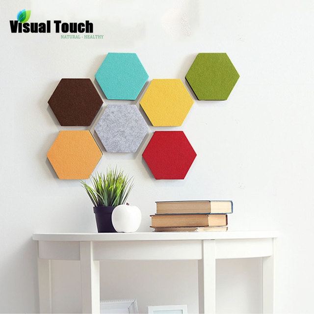 visual touch 1pc colorful house felt hexagon wall sticker decorative