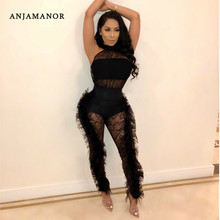 a92d14b3e65 ANJAMANOR Feathers Floral Lace Sleeveless Sexy Bodycon Jumpsuit Romper  Women Clothes 2019 White Black Prom Club