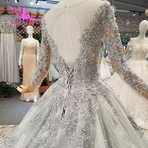 Image 5 - AIJINGYU 간단한 웨딩 드레스 소매 레이스 가운 가운 맞춤 공 러시아어 가운 아랍어 웨딩 드레스