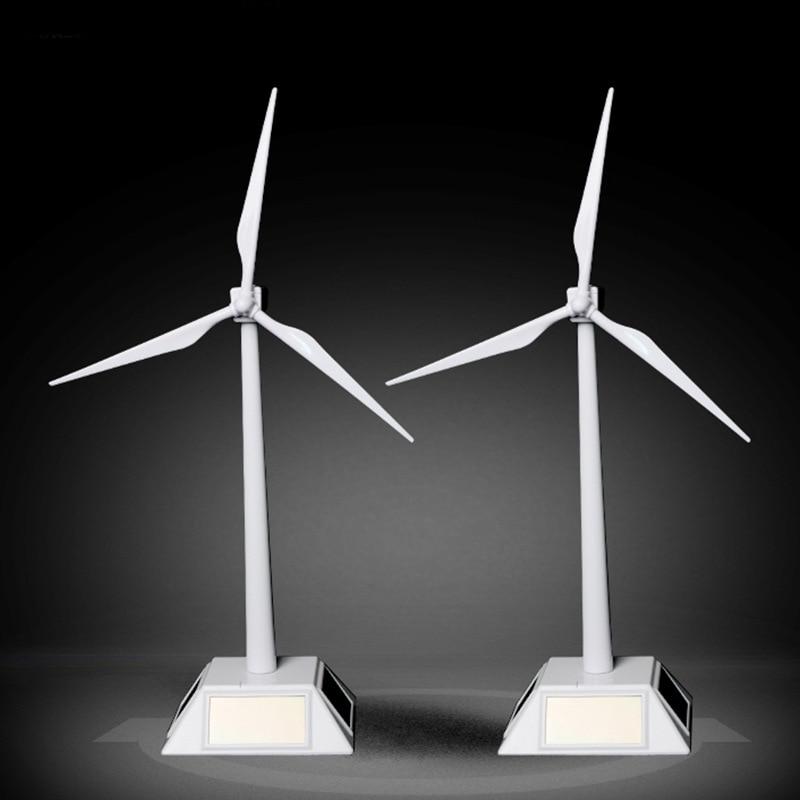 Solar Powered Windmills Model Wind Turbine Model ABS Plastic Toys Easy To Assembled Toys Desktop Model