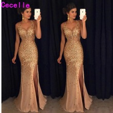 cecelle 2019 Gold Mermaid Crystals Prom Dresses Sleeveless