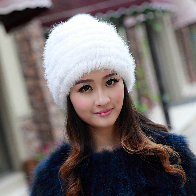 2015 New Fashion Nature Fox Fur Hat Fur Knitted Rabbit Fur Cap Headwear Winter Hat