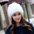 2015 nueva moda natural fox fur sombrero de piel de piel de conejo de punto cap sombreros de invierno sombrero