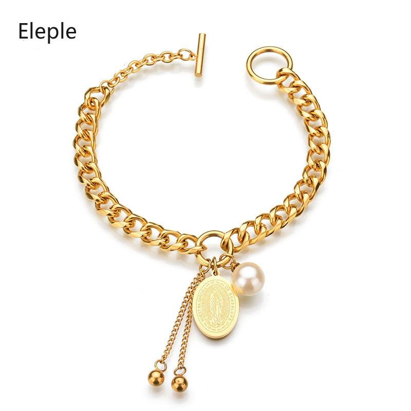 Eleple Titanium Steel Religion Hand Shape Geometry Bracelet Stainless Virgin Mary Lady Jewelry Wholesale S-B52